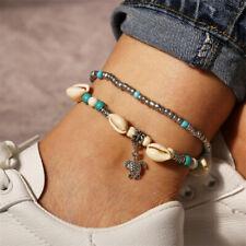 Women Boho Shell Turquoise Beads Sea Turtle Anklet Beach Sandal Bracelet Gift