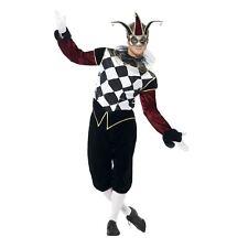 Adult Gothic Venetian Harlequin Costume Mens Evil Jester Halloween Fancy Dress Medium