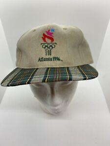 Vintage Olympics 1996 Atlanta Logo Plaid Strap Back Hat Cap 90s NWT