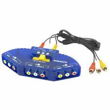 Blue Black Rca Av Video Audio Signal Switcher 3 Port Game Selector