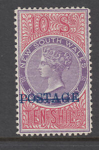 New South Wales Sc 108B MOG 1884 10sh mauve & claret Queen Victoria, white paper