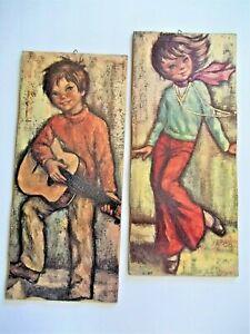 "Vtg 60's Boy Guitar Girl Woodstock Hippie Mod Couple Print Plaque Folk Art 18"""