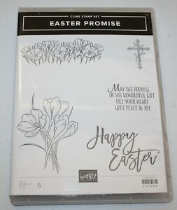 Stampin Up Retired Clear Mount EASTER PROMISE Cross Flowers Crocus