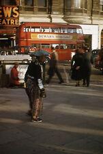 Red Double Decker Bus - UK City Scene ? - c1950s - Original 35mm Slide