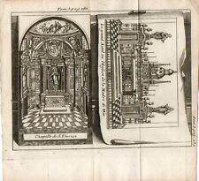 Stampa antica NAPOLI Chiesa Madre di Dio altare cappella S. Teresa1743 Old print