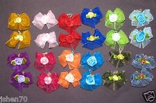 Lot 24 DOG Hair Bow Double layer Organza w Daisy 1.5 inch for Yorkie, Maltese