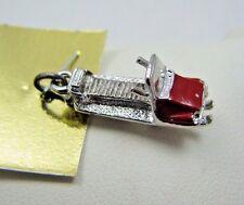 Vintage Sterling Silver 3D Enamel Snow Mobile Bracelet Charm