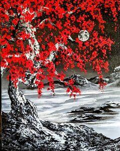 Original Signed Moon  Oil Painting Art Decor 16x20 Canvas Bob Ross Style