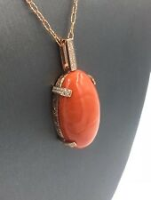 44ct Coral Oval Cabochon Pendant Necklace 14K Rose Gold w/ .40ct in Diamonds