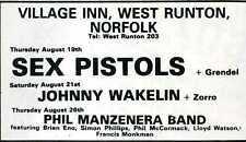THE SEX PISTOLS Flyer / Handbill - West Runton, Norfolk - 1976 - Preprint
