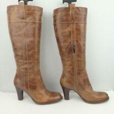River Island Leather Boots Uk 4 Eur 37 Womens Pull on Distressed Brown Boots