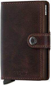Secrid Men Mini Wallet Genuine Leather RFID Safe Card Case, Chocolate