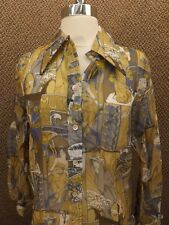 Classy Vtg 70s Romantic French Semi Sheer Nylon Button Down Shirt 14/34 NEW NOS