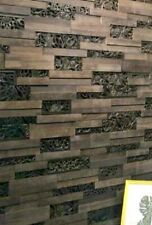 Exclusive Decorative 3D WOOD Panels Feature wall Interior METAL Carving Brown