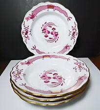 Meissen PINK DRAGON Large Rimmed Soup Bowls, Set of 4, 1st Quality, Nice!!
