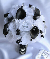 17 Piece Package Silk Flower Wedding Bridal Bouquet Calla Lily Sets BLACK WHITE