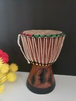 Djembe Drum With Hand Carved Base - West African Skin Goblet Drum    GREAT SOUND