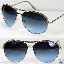 New Rhinestones Pilot Womens Sunglasses Shades Fashion Blue Celebrity Designer