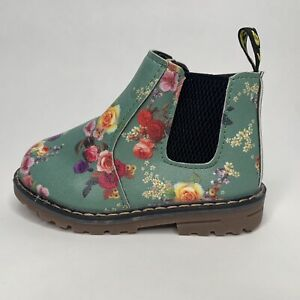 Baby Girls Casual Green Floral Zip Ankle Boots Size EU 24 UK 7 Infant