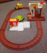 Vintage Fisher Price Lift & Load Railroad and Lumber Yard w/ tracks Etc 943 944