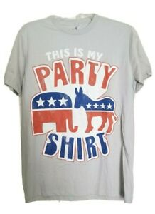 CHILL This Is My Party Shirt REPUBLICAN / DEMOCRAT Men's Tee- Gray NEW OLD STOCK
