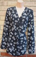 G21 BLACK WHITE FLORAL V NECK LONG SLEEVE BAGGY BLOUSE T SHIRT TOP TUNIC 14 L