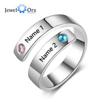Personalized Ring Custom Engraved Couple Name Birthstone Xmas Mothers Day Gift