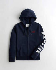 Men's Hollister Zip Hoodie Fleece Lined Embroidered Logo Sweatshirt M L XL 2XL