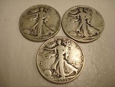 *3 VG WALKING LIBERTY HALF DOLLARS,1936-P,D&S   (#W-6)
