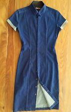 DARYL K-189 Dark Denim Blue Fitted Tailored Stretch Shirt Dress Small
