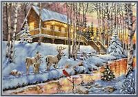 Counted Cross Stitch Kit WINTER CABIN Dimensions Gold Collection NEW RELEASE!!