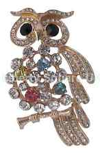 Gold Plated Crystal Wise Owl Brooch / Mothers Day Gift / Gift Boxed #640