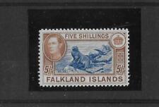 Falkland Islands 1938-50 George VI 5s Steel blue and Buff-brown SG161d UM MNH.