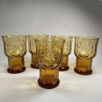 """(Set of 5) Vintage 70's Libbey Amber Gold Country Garden Daisy 4"""" Juice Glasses"""