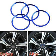 4PC Blue Alloy Wheel Center Hub Ring Decorator Covers Trim For 16-up Honda Civic