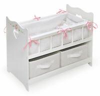 "Baby Doll Crib Cradle Bassinet Bedding Dollhouse Girls Kids Pretend Toy Fit 18"""