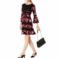 ALFANI NEW Women's Flower Swing Stripe Print Fit & Flare Dress TEDO