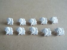 10 x Cute White Elephant Baby Novelty Plastic Shank Buttons 15mm H50