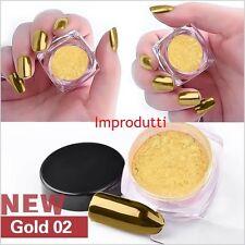 Polvo de uñas 2g Oro Espejo Cromo Efecto pigmento Nail Art * * Cepillo Gratis