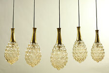 Set of 5 Limburg Pendant Lamps Amber Glass Bubbles in Drop Shape 1960's - 1970's