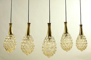 5 Limburg Pendant Lamps Amber Bubble Glass Design Helene Tynell Drop Shape