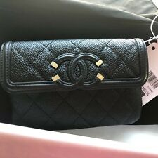 New Auth CHANEL Filigree Black Caviar Leather Wallet Case Clutch Italy Beautiful