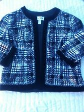 Vintage Joseph Ribkoff Sequin Blazer Jacket Sz 14 Black Silver Holiday Bling