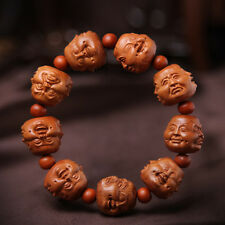Four Face Buddha Beads Chinese Wood Carving Sculpture Bracelet Hand Strings