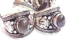 Old Tibet Silver Ring Black labradorite Stone Adjustable Religion one pieces