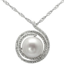 Sterling Silver Pendant CZ, Pearl Pendant Necklace,17.5 Extension Chain, 925