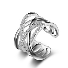 Zirconia Cross Band Ring Size 7 Womens Fashion 925 Sterling Silver Cz Cubic