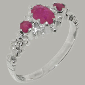 Solid 9ct White Gold Natural Ruby Womens Trilogy Ring