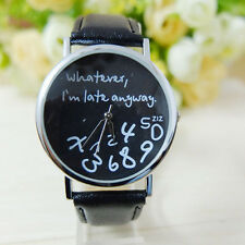 Lady Womens Leather Watch Wathever I am Late Anyway Letter Print Wrist Watches