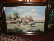 Charles Weidman Oil Painting On Canvas-Country Decor Village-Flowers Trees Sky